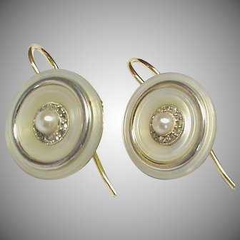 Antique Edwardian 18k 18ct Gold cultured Pearl & rose cut Diamond Earrings