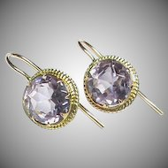 Antique Victorian 9k 9ct Gold Amethyst Earrings