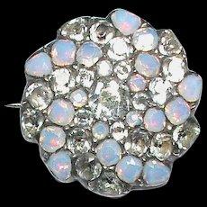 Antique Georgian Sterling Silver Black dot Paste & Opaline Brooch