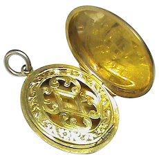 Antique Victorian 9k 9ct Gold Vinaigrette Locket Pendant