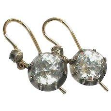 Antique Georgian 9k 9ct Gold & Sterling Silver Paste Earrings