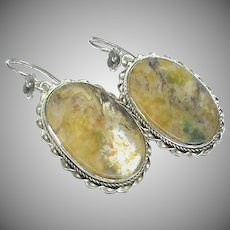 Antique Victorian Sterling Silver Agate Earrings