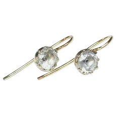Antique Georgian Sterling Silver Gilt black dot Paste Earrings