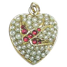 Antique Victorian Ruby Paste & Faux Seed Pearl Heart Pendant with Swallow Bird