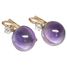 Super Antique French 18k 18ct Gold Diamond Amethyst Earrings