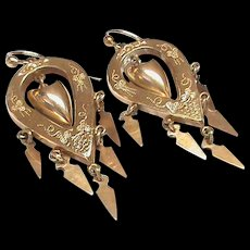 Antique Victorian Gold Filled Large Dangly Earrings