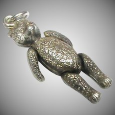 Antique Edwardian Sterling Silver Articulated Teddy Bear Charm Pendant