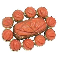 Antique Georgian 9k 9ct Gold carved Coral Mourning Brooch with locket