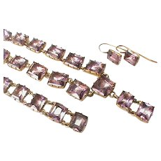 Antique Fine Quality Georgian Paste Necklace Bracelet & Earrings suite