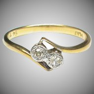 Vintage Art Deco 18k 18ct Gold Platinum Diamond Twist Ring