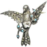 Antique Victorian Silver faux Turquoise & Seed Pearl BIRD Brooch