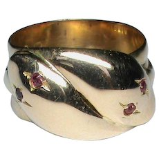 Antique English 1913 18k 18ct Gold double SNAKE Ring