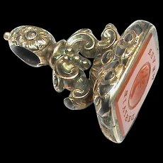 Antique Victorian Gold Filled Agate Intaglio Seal NEVER DESPAIR Cornucopia