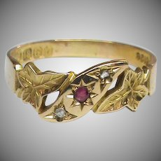 Antique Edwardian 1901 18k 18ct Gold Ruby & Diamond IVY LEAF Ring