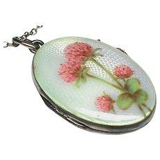 Vintage Art Deco Sterling Silver Enamel Flower Locket Pendant