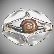 Impressive Large Antique Victorian Rock Crystal pools of light Snail Brooch poss Chinese