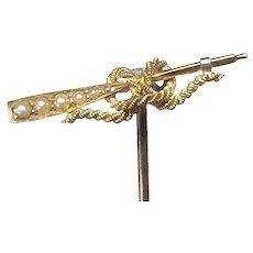 Antique Edwardian 15k 15ct Gold Seed Pearl OAR Stickpin Stick Pin
