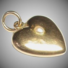Antique Victorian 15k 15ct Gold Seed Pearl Heart Charm Locket Pendant