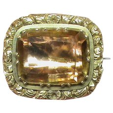Antique Georgian 9k 9ct Gold Quartz Gemstone Brooch
