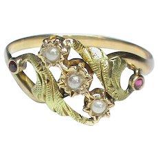 Antique French Art Nouveau 18k 18ct bi-color Gold Ring