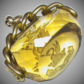 Large Antique Edwardian 1905 9k 9ct Gold Intaglio Citrine Swivel Seal FAITH IN ALL Family Crest