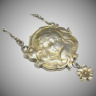 Antique Art Nouveau Silver 900 Slide Mirror Locket Necklace