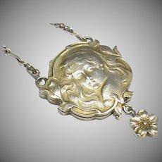 Antique Art Nouveau Silver 900 Slide Mirror Locket Necklace