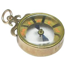 Antique Edwardian 1901 9k 9ct Gold Compass Fob