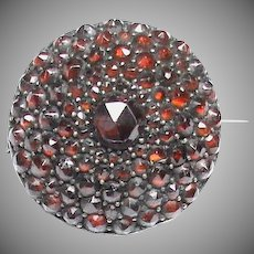 Antique Victorian Garnet Brooch originally a button