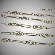 Antique Art Nouveau French Silver gilt 800-900 Flower Long Guard Chain Sautoir Necklace