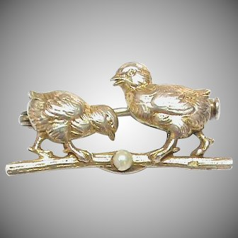 Antique French 19th Century Silver 800-900 Chick Seed Pearl Brooch