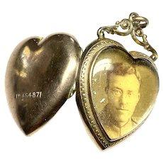 Antique Edwardian 1905 Rolled Gold Family Heart Photo Locket Pendant