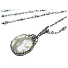 Antique Arts & Crafts Sterling Silver Blister Pearl Pendant Necklace