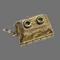 Antique 19th Century Novel Gold Plated Desk Inkwell VINAIGRETTE Charm Pendant