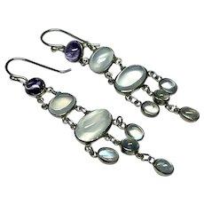 Large Vintage Sterling Silver Moonstone & Amethyst Long Dangly Earrings