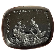 Antique 19th Century Loose Glass Cupid Intaglio Seal TIME MAKES LOVE PASS