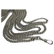 """Heavy Substantial Antique English Victorian 1882 Long Sterling Silver Guard Chain 62"""""""