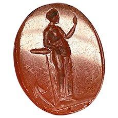 Antique 19th Century Loose Intaglio Seal of HOPE