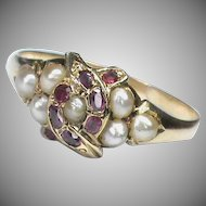 Antique 19th Century 18k 18ct Gold Ruby Seed Pearl double SNAKE Ring