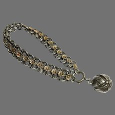 Antique French Silver & Gold vermeil Flower Bracelet with ball charm
