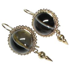 Antique Victorian Banded Agate Earrings with 9k 9ct gold wires