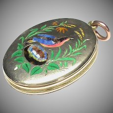 Antique Victorian 9k 9ct Gold Back & Front Enamel Locket Pendant