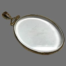 Large Antique Georgian Gilt Metal Double Sided Glass Locket