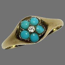 Antique 19th Century 18k 18ct Gold Turquoise & Diamond Ring