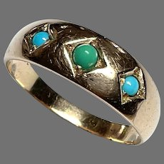 Big Antique Victorian c1900 9k 9ct Gold Turquoise Ring