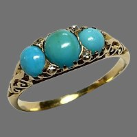 Antique Victorian 18k 18ct Gold Turquoise & Diamond Ring