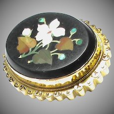 Antique Victorian 15k 15ct Gold Pietra Dura Brooch
