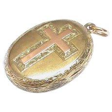 Quality Antique Victorian 12k 12ct Gold Cross Locket Pendant