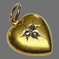 Antique Victorian c1900 15k 15ct Gold Diamond Heart Charm Pendant