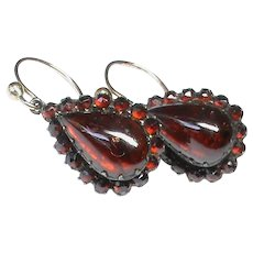 Antique Victorian Garnet Earrings with 9k 9ct Gold wires